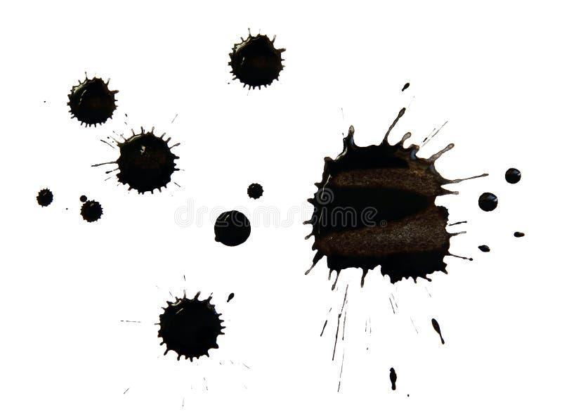 Vlekken van zwarte inkt royalty-vrije stock afbeeldingen