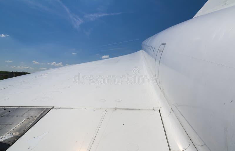 Vleugel van Concorde, het supersonische lijnvliegtuig stock fotografie