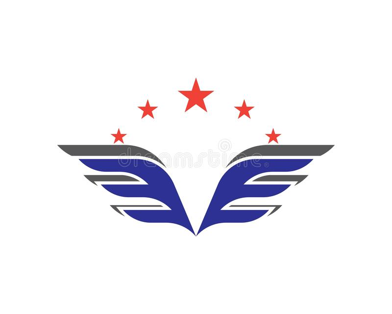 Vleugelembleem en symboolmalplaatje stock illustratie