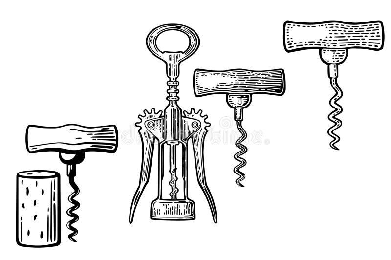 Vleugelkurketrekker, basiskurketrekker en cork royalty-vrije illustratie
