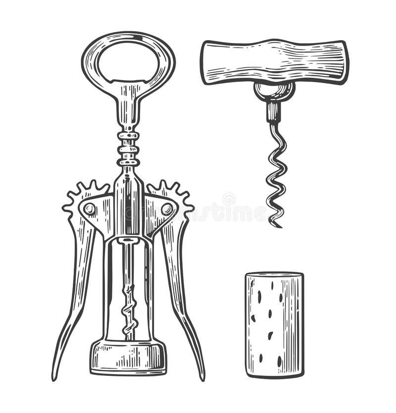 Vleugelkurketrekker, basiskurketrekker en cork Zwarte wijnoogst gegraveerde illustratie op witte achtergrond Voor etiket, post vector illustratie