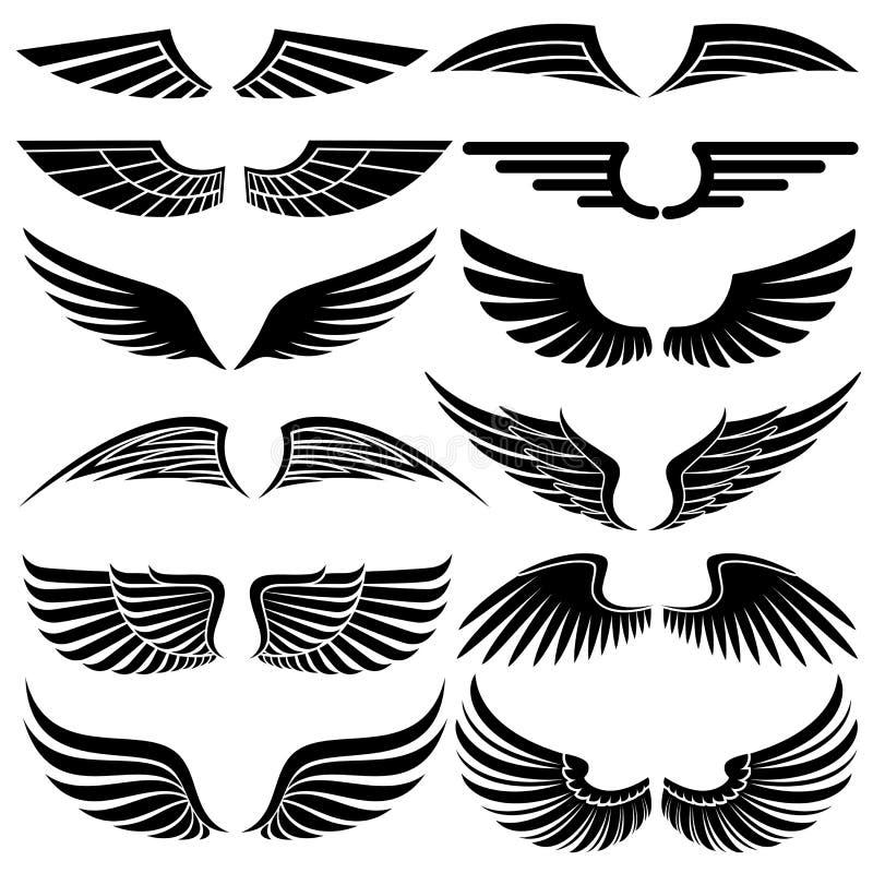 Vleugels. Elementen voor ontwerp. vector illustratie