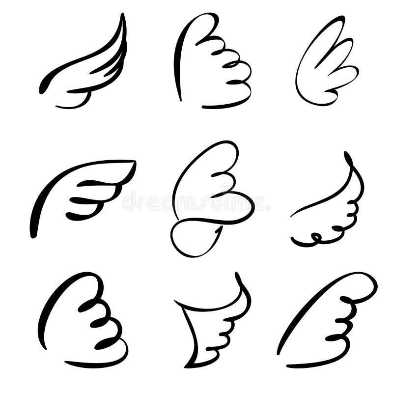 Vleugels geplaatst vectorillustratie royalty-vrije illustratie