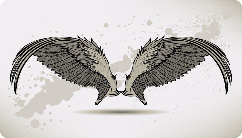 Vleugels Griffon, handtekening. Vector illustratie. stock illustratie