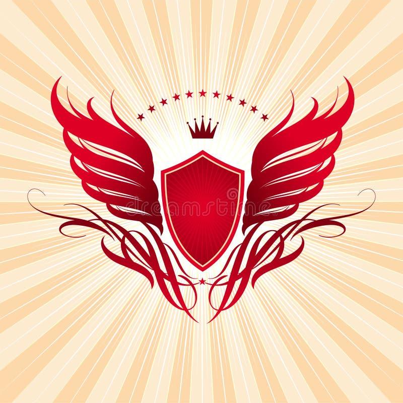 Vleugels, schild en kroon vector illustratie
