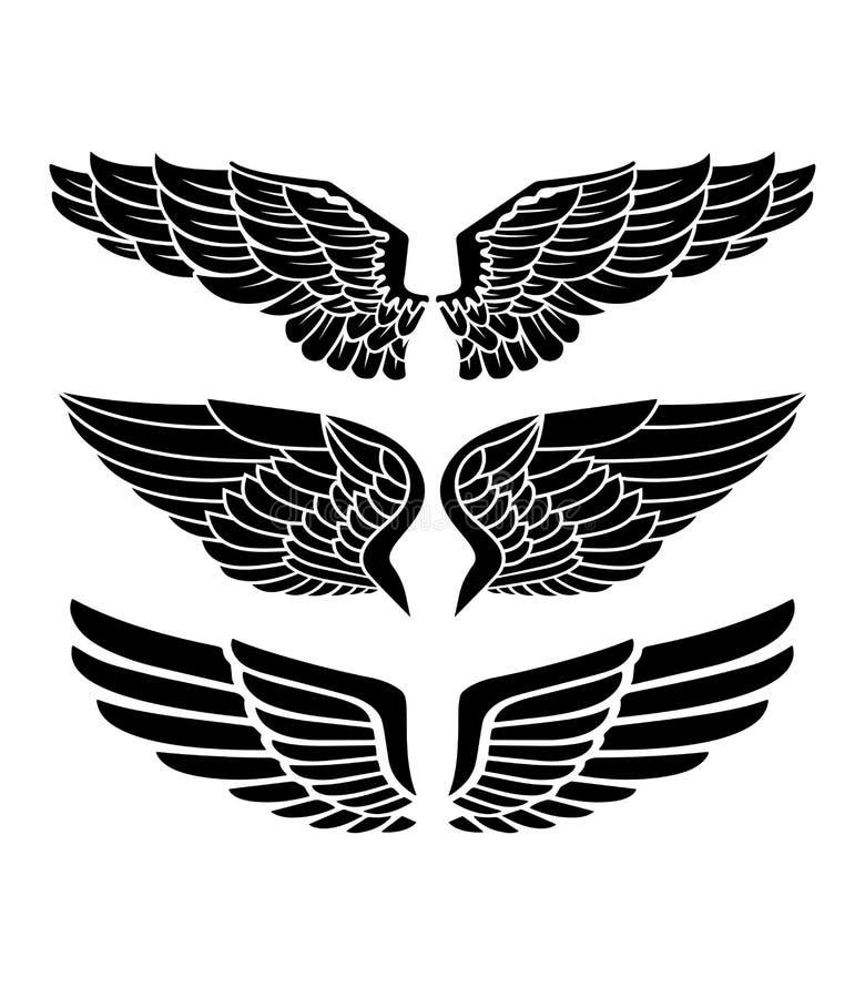 Vleugels voor wapenkunde, tatoegeringen, emblemen stock illustratie