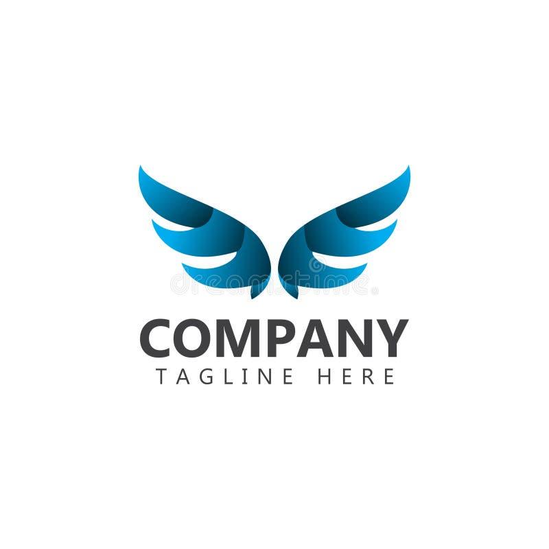 Vleugelsbedrijf Logo Vector Template Design Illustration vector illustratie