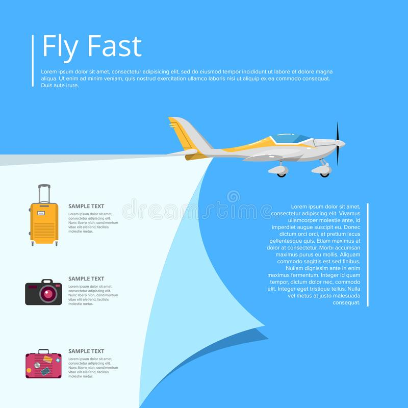 Vlieg snelle affiche met propellervliegtuig stock illustratie