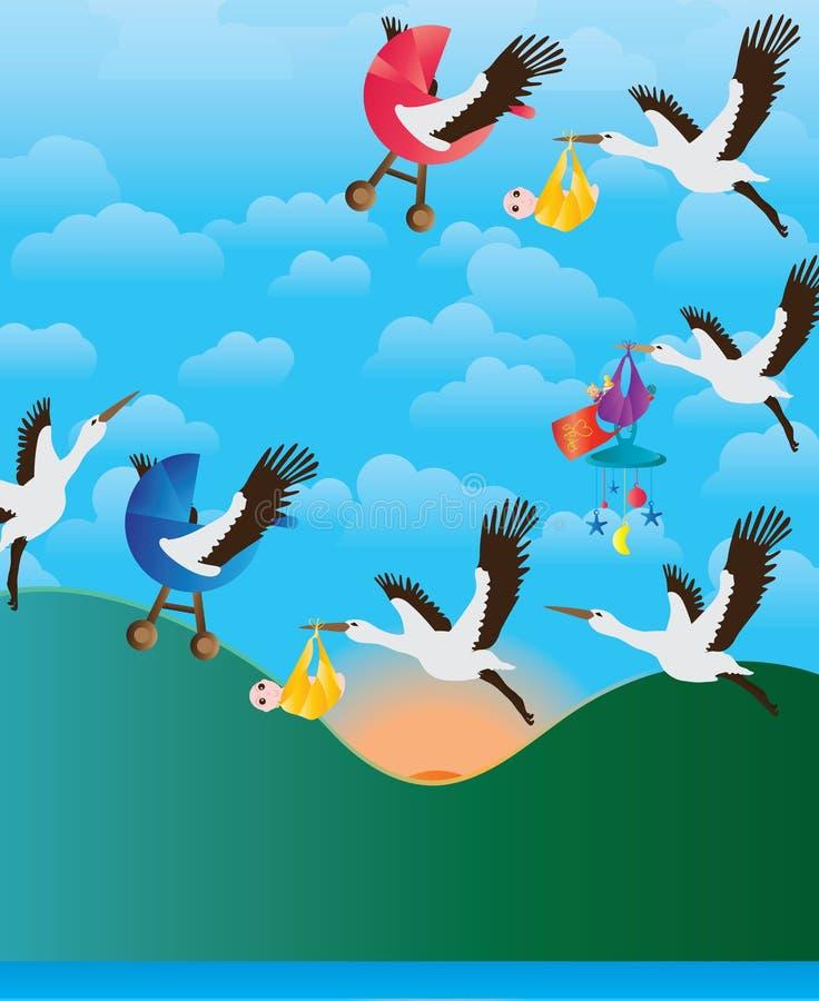 Vlieg van de de babyochtend van de kraanvogel de dragende stock illustratie