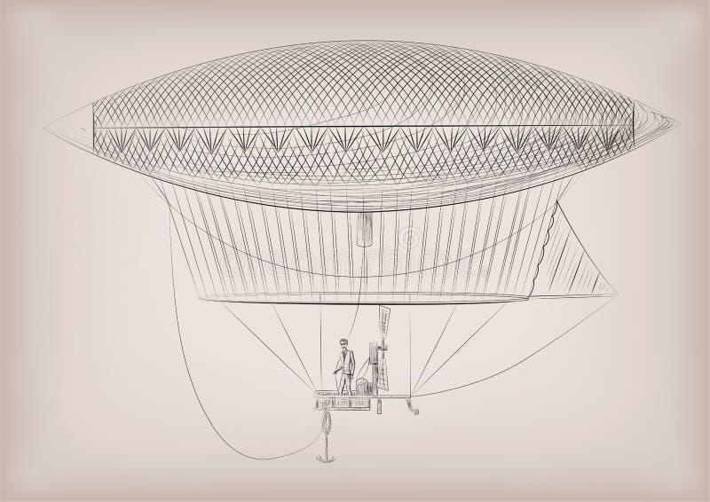 Vliegen dirigible, luchtschip, blimp, op lucht Vector mooie horiz vector illustratie