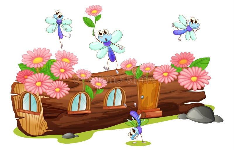 Vliegen en een houten huis vector illustratie