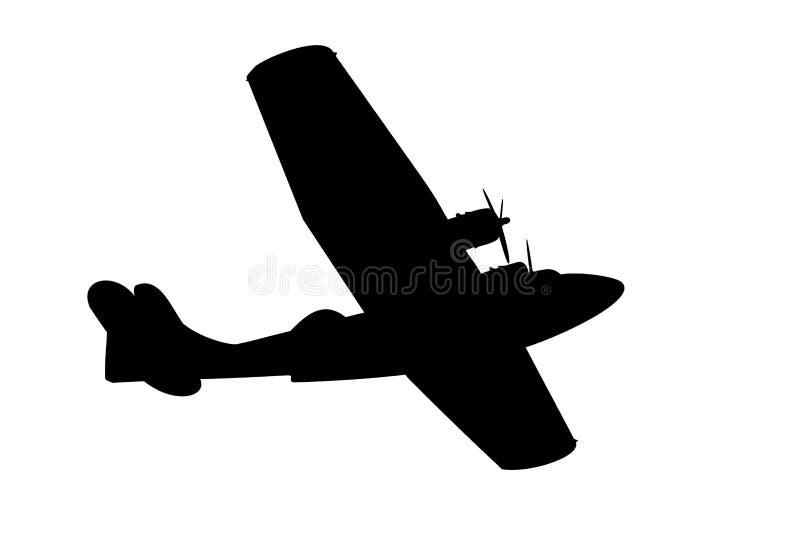 Vliegend bootsilhouet royalty-vrije illustratie