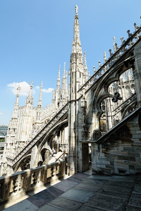 Vliegend buttresss, de kathedraal van Milaan, Lombardije, Italië royalty-vrije stock foto