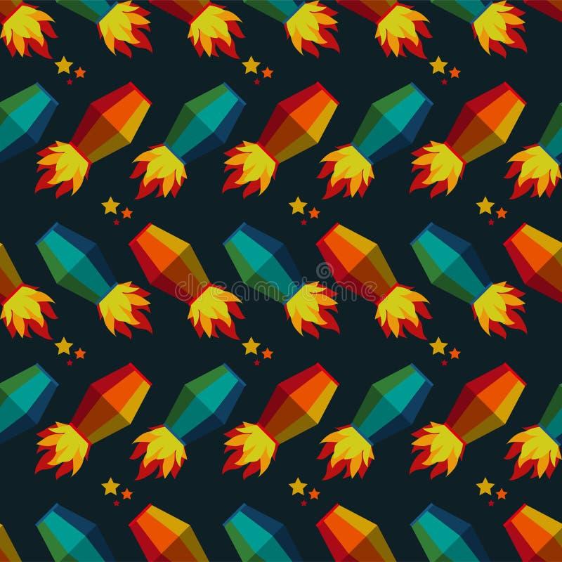 Vliegend de Lantaarns Naadloos Patroon van Festajunina royalty-vrije illustratie
