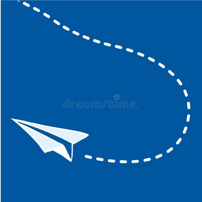 Vliegend document vliegtuig op blauw vector illustratie
