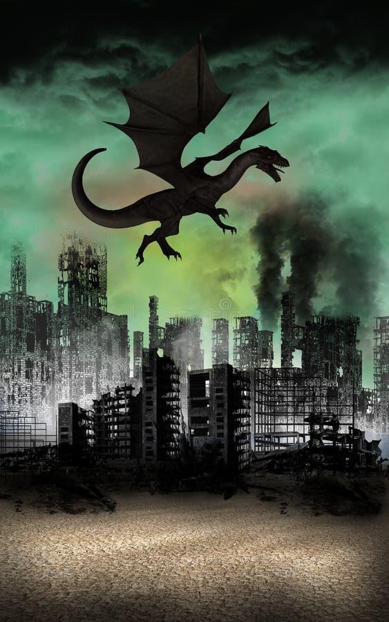 Vliegend Dragon City Ruins Apocalypse royalty-vrije illustratie