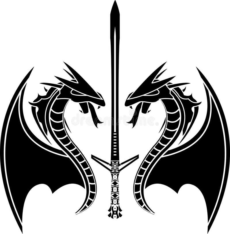 Vliegend draken en zwaard stock illustratie