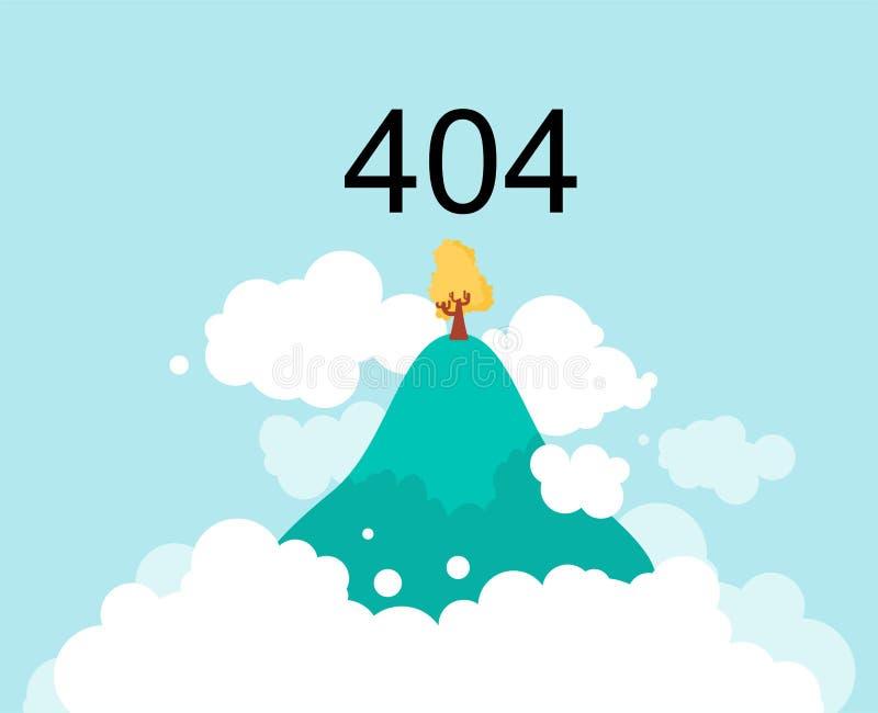 Vliegend Eiland in wolken in hemel 404 fout Gevonden niet pagina Vect royalty-vrije illustratie