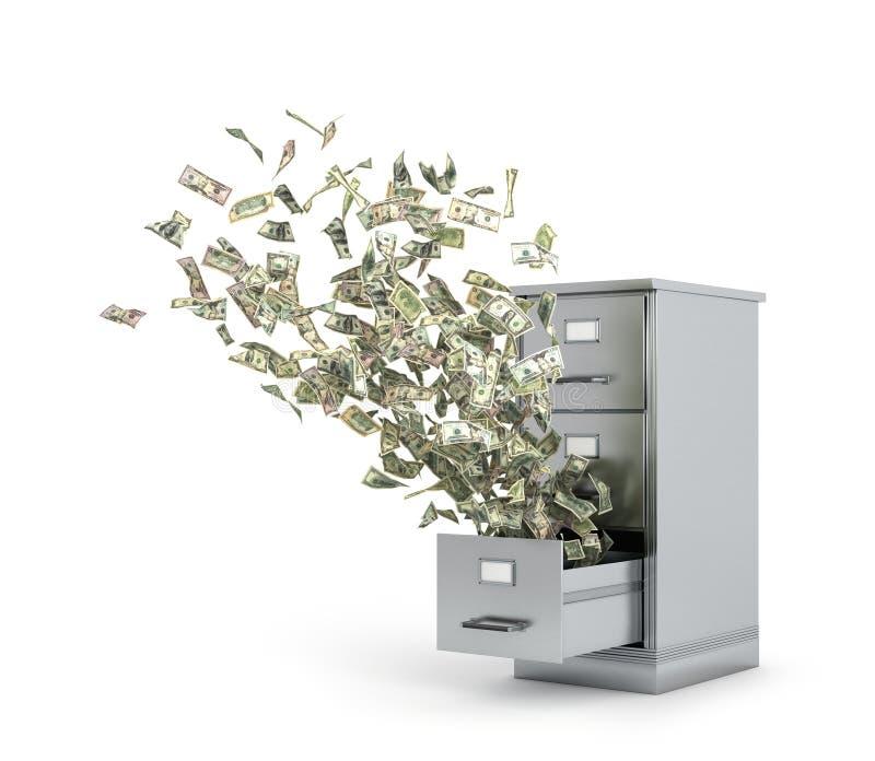 Vliegend geld van een kast om documenten op te slaan 3D Illustratie stock illustratie