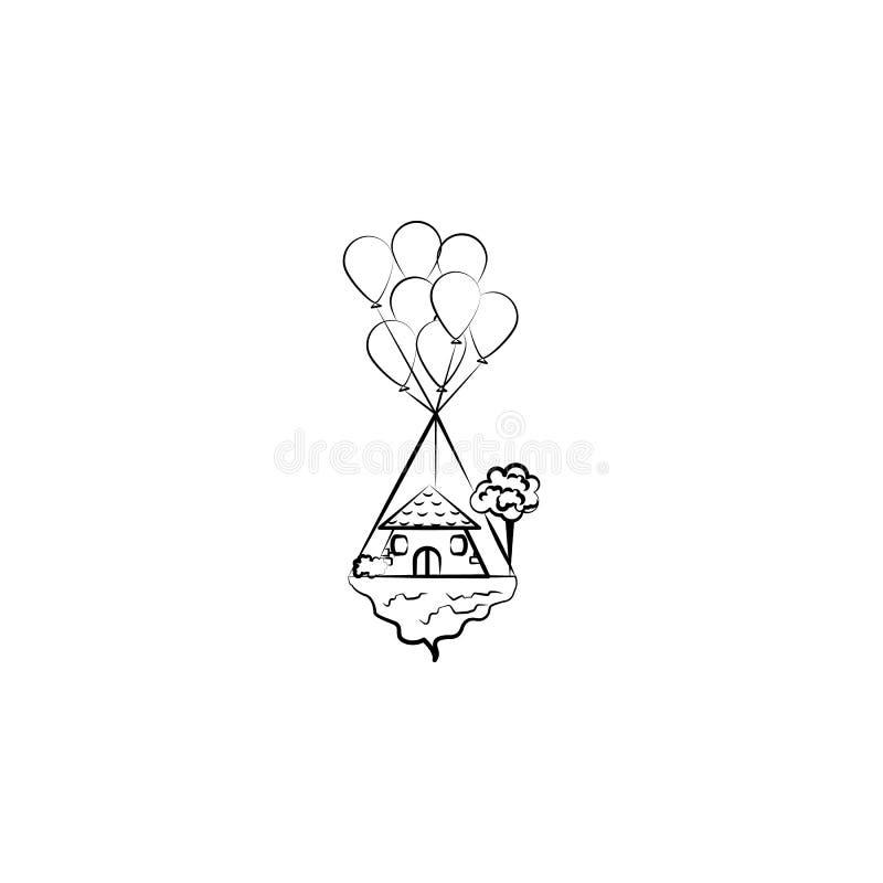 Vliegend huis, baloon pictogram Element van hand getrokken Denkbeeldig huispictogram voor mobiele concept en webtoepassingen Hand royalty-vrije illustratie