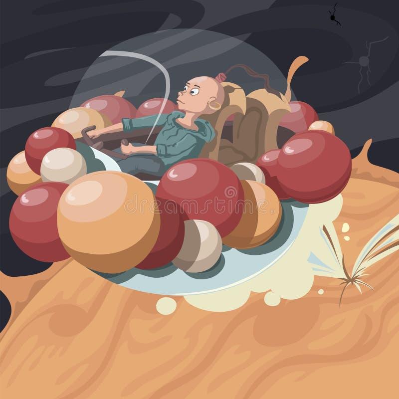 Vliegend interplanetair ruimtevaartuig met ballen stock illustratie