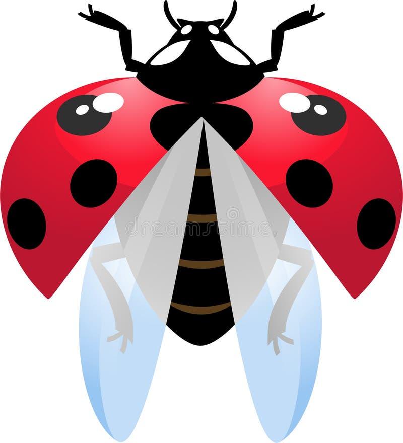 Vliegend onzelieveheersbeestje royalty-vrije illustratie