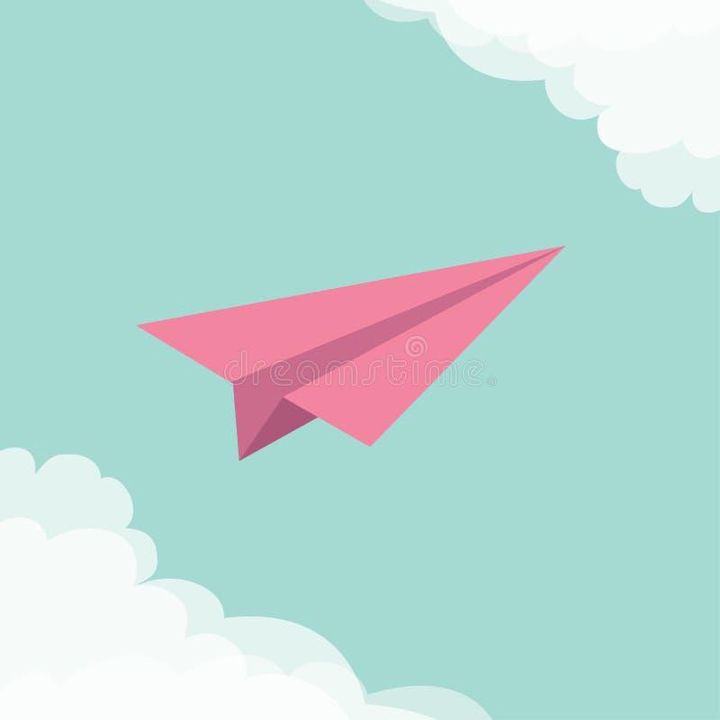 Vliegend origamidocument vliegtuig Wolk in hoekenkader Vervoersinzameling Typografische blauwe de hemelachtergrond van de groetka royalty-vrije illustratie