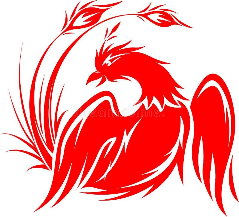 Vliegend Phoenix in rood vector illustratie