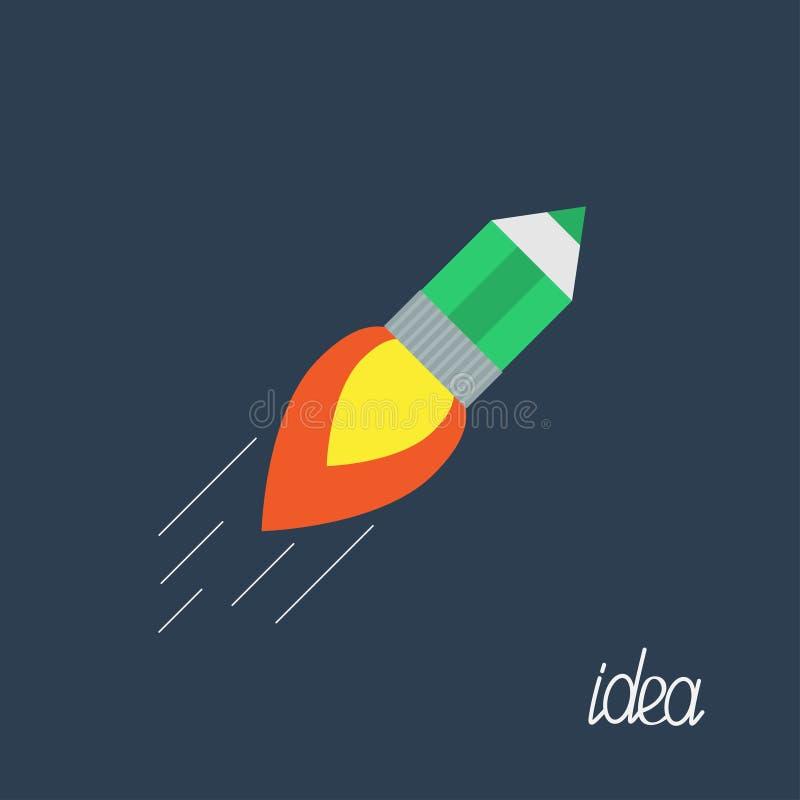 Vliegend potlood met van de bedrijfs raketbrand Ideeconcept Vlak Ontwerp vector illustratie