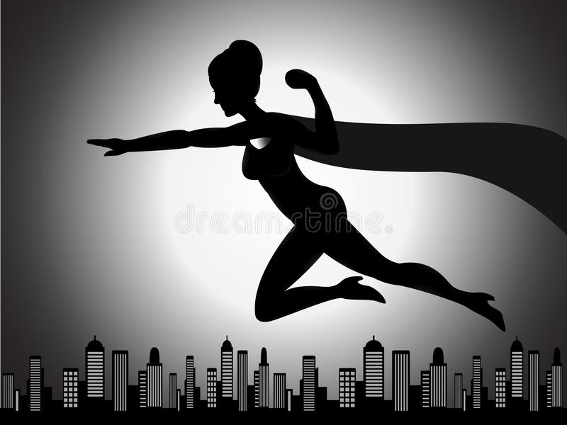 Vliegend Superhero-Meisjessilhouet vector illustratie
