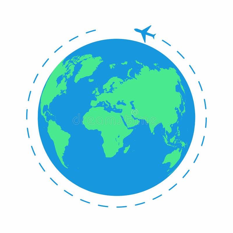 Vliegend vliegtuig rond de wereld Het wegvliegtuig, vliegtuigroute Aardepictogram vector illustratie
