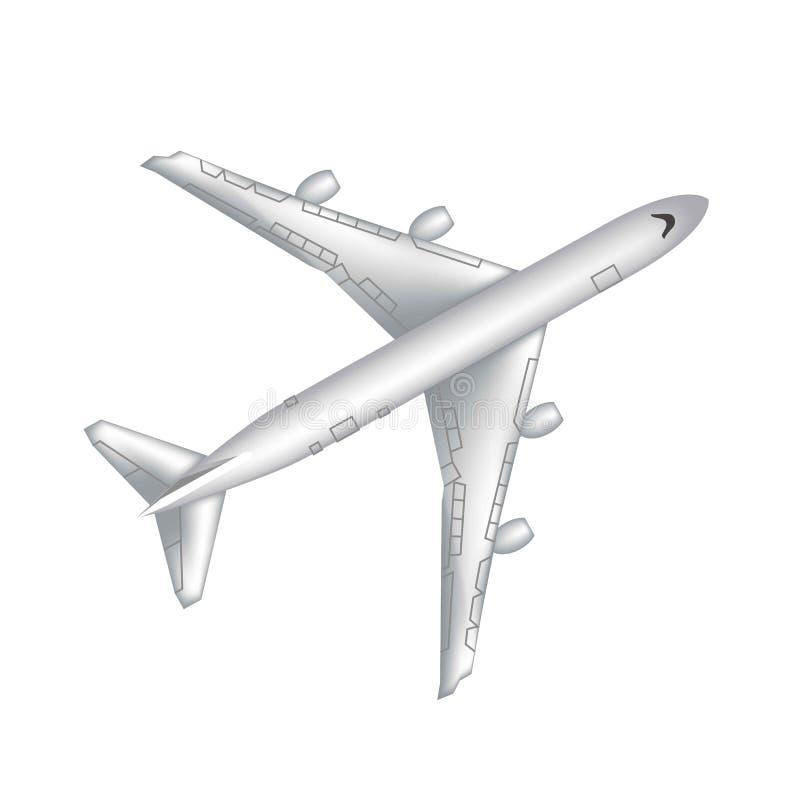 Vliegend vliegtuig, straalvliegtuigen, lijnvliegtuig Hoogste mening van het gedetailleerde realistische die vliegtuig van de pass stock illustratie