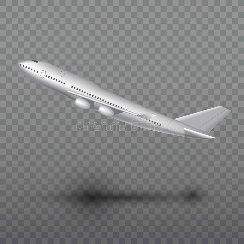 Vliegend vliegtuig, straalvliegtuigen, lijnvliegtuig Zijaanzicht van het gedetailleerde realistische die vliegtuig van de passagi vector illustratie