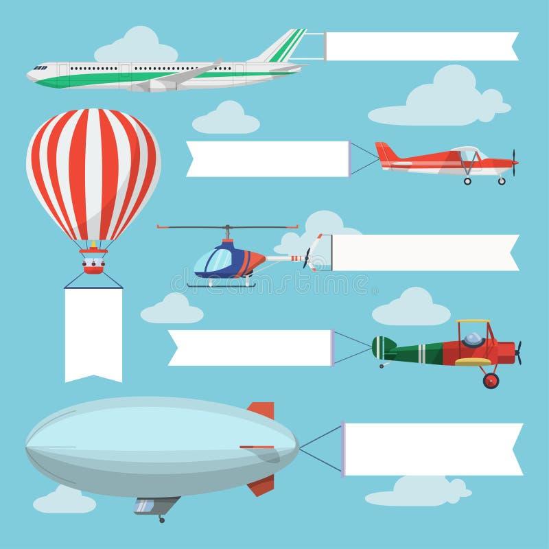 Vliegend vliegtuigen, helikopter en luchtschip die reclamebanner trekken royalty-vrije illustratie
