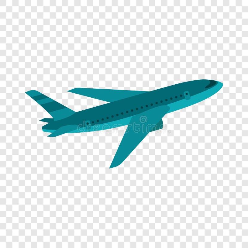 Vliegend vliegtuigpictogram, vlakke stijl stock illustratie