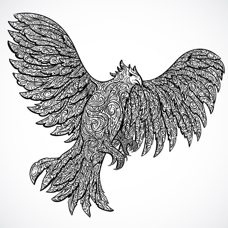 Vliegende adelaar met decoratief ornament Zwarte decoratie Retro banner, uitnodiging, kaart, schroot het boeken royalty-vrije illustratie