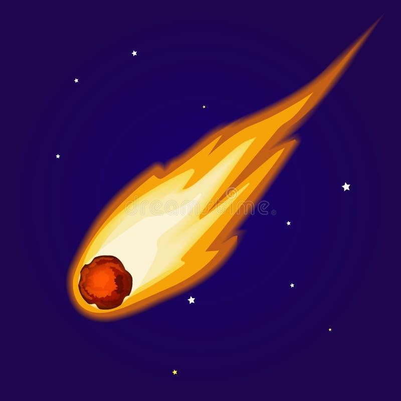 Vliegende Asteroïde bij nachthemel Minder belangrijke planeet in zonnestelsel royalty-vrije illustratie
