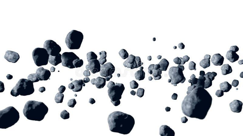 Vliegende asteroïde, meteoriet isoleer het 3d teruggeven stock afbeelding