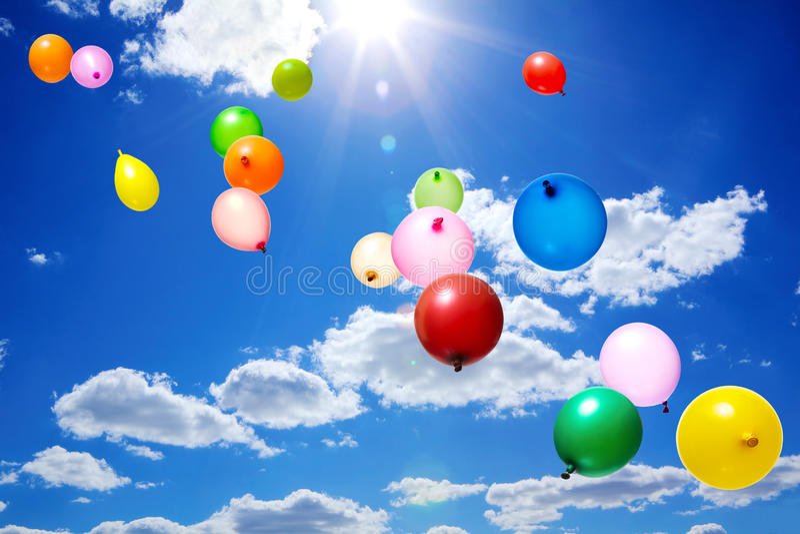 Vliegende Ballons stock foto's