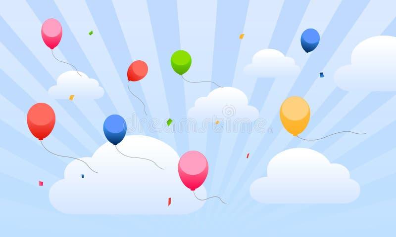 Vliegende ballons in de hemel voor jonge geitjes royalty-vrije illustratie