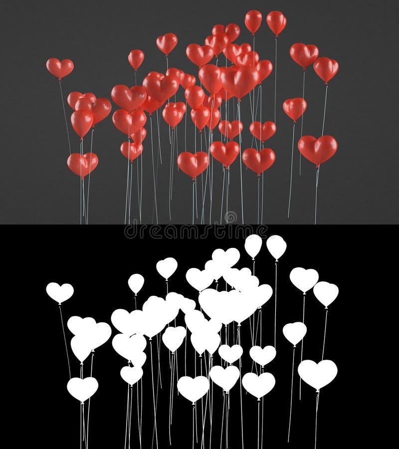 Vliegende ballons in de vorm van een hart royalty-vrije stock fotografie