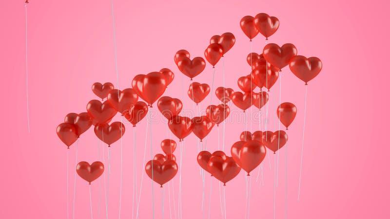 Vliegende ballons in de vorm van een hart stock foto
