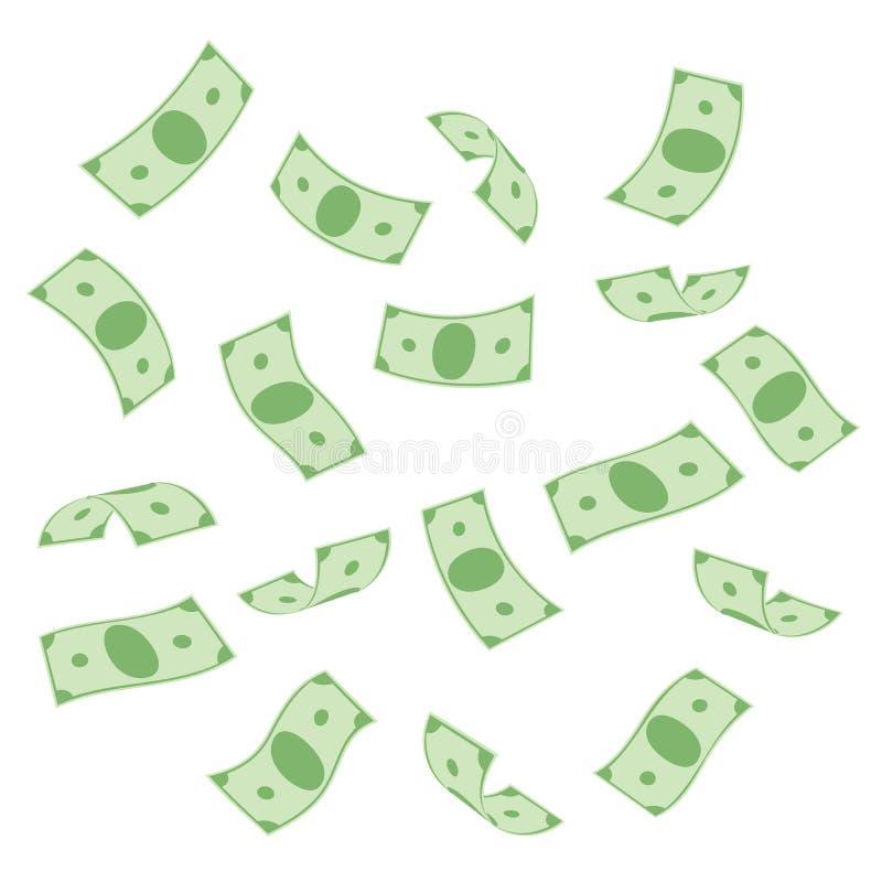 Vliegende bankbiljettendollars stock fotografie
