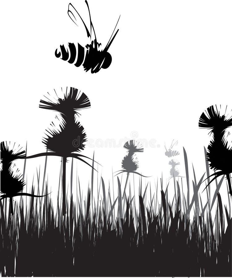 Vliegende bij stock illustratie