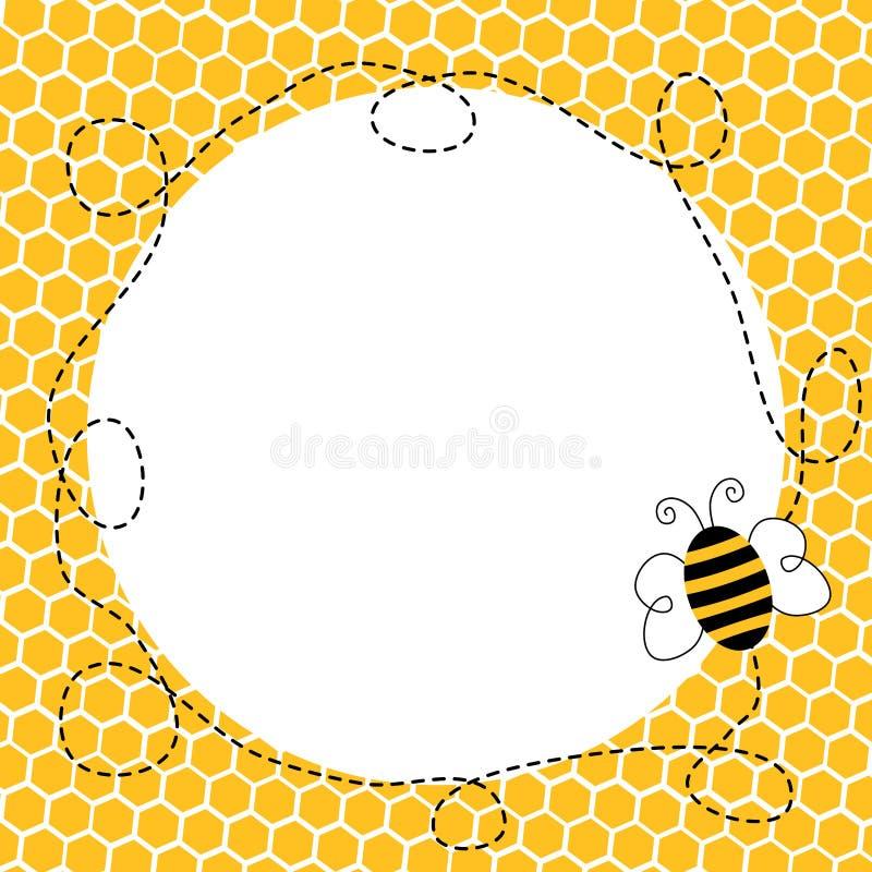 Vliegende Bij in een Honingraatkader stock illustratie