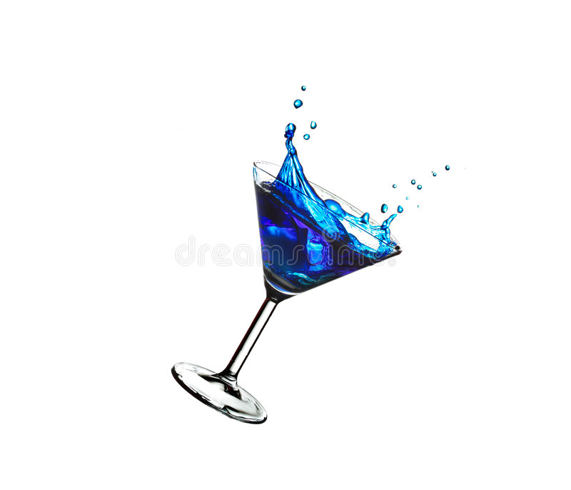 Vliegende blauwe cocktail stock fotografie