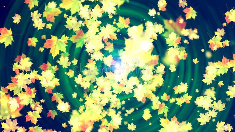 Vliegende de herfstbladeren abstracte achtergrond stock illustratie