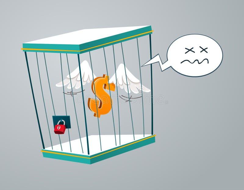 Vliegende die dollar in een kooi wordt opgesloten stock illustratie