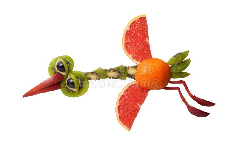 Vliegende die reiger van verse vruchten wordt gemaakt stock afbeeldingen