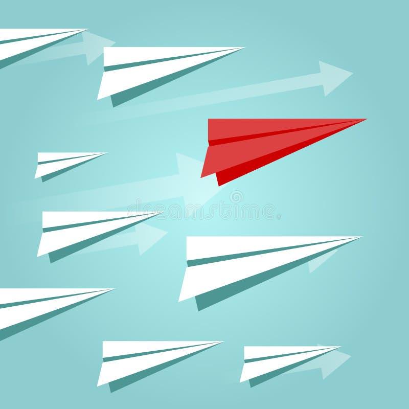 Vliegende document vliegtuigen op de blauwe hemel met rood document vliegtuig Carrière, de groei of leidingsconcept Reis of migra vector illustratie